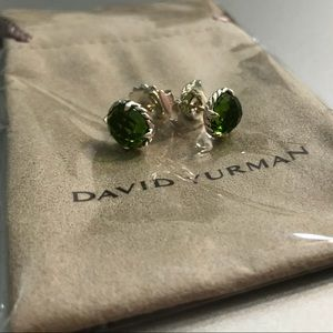 DY Silver Chatelaine with Green Peridot Earrings